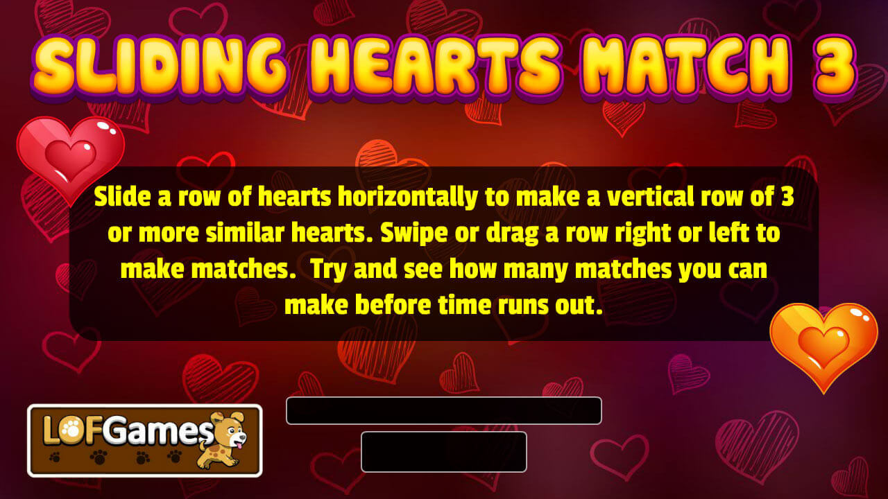 Sliding Hearts Match 3 - Game - Lofgames